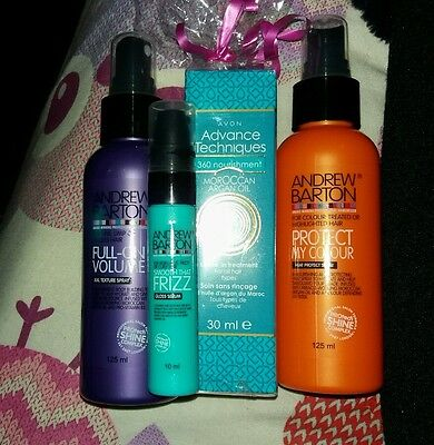 Andrew Barton hair care set with moraccan oil leave in treatment. New. Gift set.