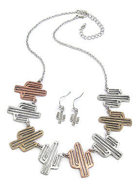 CACTUS WESTERN Theme Cactus Link Silver Gold Copper Tone Necklace & Earring Set
