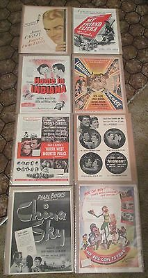 Lot Of 8 Pieces Of Vtg Movie Star Ads In Plastic Sleeves