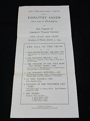 Vintage 1934 Philadelphia Forum Dorthy Sands Pageant Our Stage and Stars Paper