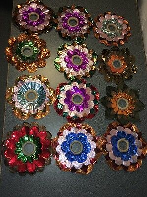 Set Of Twelve Vintage Foil Christmas Light Reflectors From Germany Very Nice!!