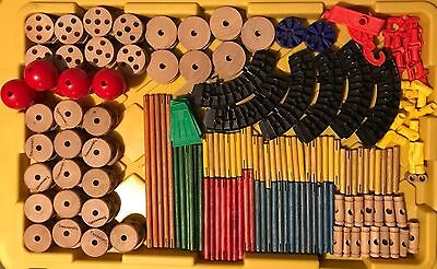 Lot of 197 Pieces of Vintage Tinkertoy Pieces Good Used Condition for their Age