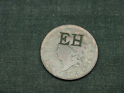 1819 counter stamped large cent