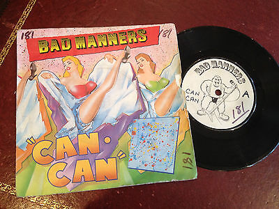 """1980s 7"""" SINGLE VINYL RECORD , BAD MANNERS, CAN CAN"""