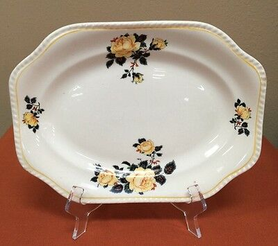 """Vintage Steubenville Ivory Small Platter Yellow Roses 11""""x 8"""""""