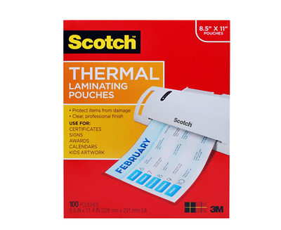 Scotch 100-Pack, 3 mil thick Thermal Laminating Pouches, Photo Safe Laminator