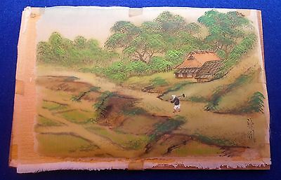 Antique Japanese Water Color Painting on Silk - Village Scene - Signed - 1920's