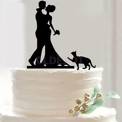 Silhouette Bride and Groom Mr & Mrs with Cat Wedding Cake Topper Anniversary
