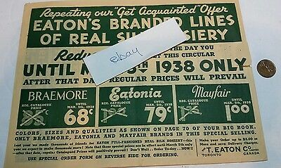 T. EATON CO.  1938 Sales Advertising Order Flyer