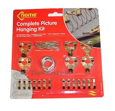 Picture hooks nails wire photo frame wall tacks canvas for Mirror hanging kit