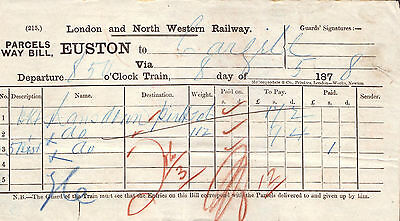 L&nwr 1878 Waybill Euston To Cargill (Perth) Caledonian Railway Stamp On Verso