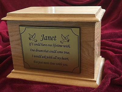 Beautiful Solid Oak Wood Cremation Ashes Urn Casket & Personalised Plaque