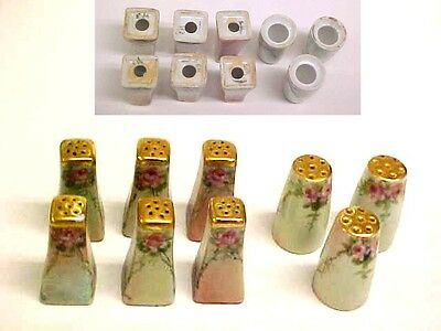 Antique  Vtg  HAND  PAINTED  Porcelain  Salt  Shaker  LOT  Most  SIGNED