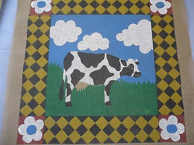 Cow in the Field Tapestry Needlepoint Canvas Only