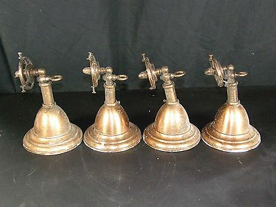 Lot of 4 Antique Gas Copper Toned Brass Wall Sconce Lamp Lights