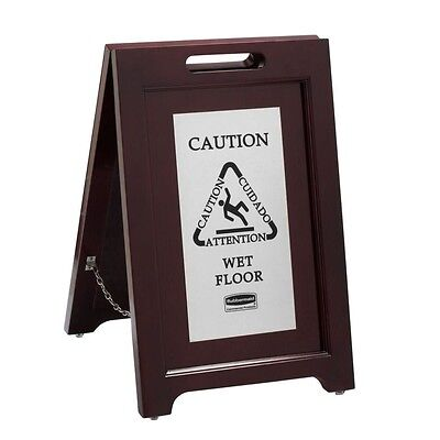Rubbermaid Wet Floor Sign 2 sided Safety Wooden