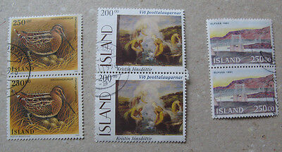 Iceland #  Lot of 3 pair high value stamps, used.