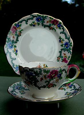 Royal Cauldon - Victoria Pattern - Cup, Saucer & Side Plate Trio