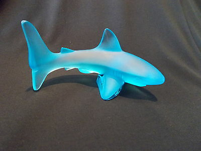 Lalique Glass - Blue Shark - Brand New And Boxed