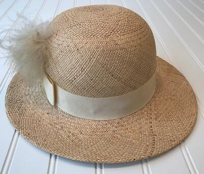 Vintage BETMAR New York Straw Ladies Hat Feather Plume Union Made