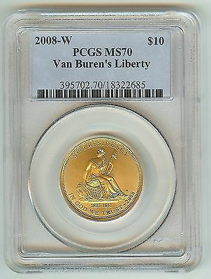 2008-W $10 Van Buren's Liberty MS-70 PCGS gold $10 Coin Perfect! Low Mintage!