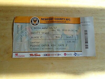 Newport County v Morecambe abandoned match used ticket 10th Dec 2016