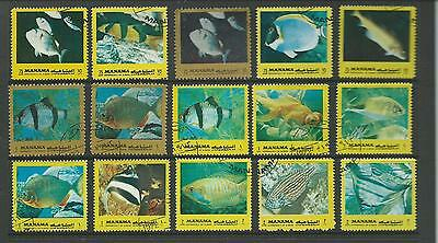 Manama Coral Fish 15 Stamps Very Colourful Used