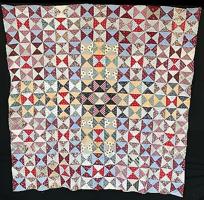 Antique 1870 Hour Glass Quilt Top