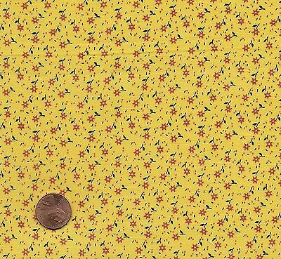 Antique 1870 Tiny Red Flowers on Yellow Calico Fabric
