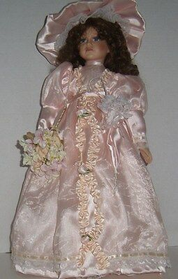 "20"" Porcelain Victorian Doll With Stand - Seymour Mann, Inc"