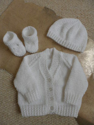 Hand Knitted White Prem New Baby Cardigan Booties and Hat 1st size 16in Chest