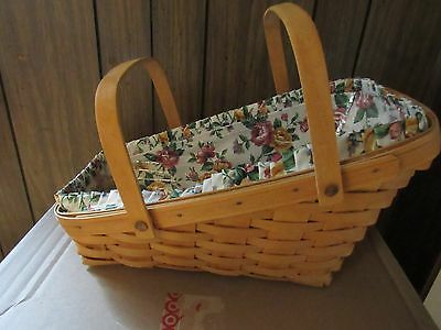 Large Longaberger Vegetable Basket 1997 With Protector, Line and Handles