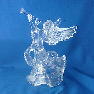"""clear acrylic Angel with horn tree topper 9"""" tall Christmas Present & Past"""