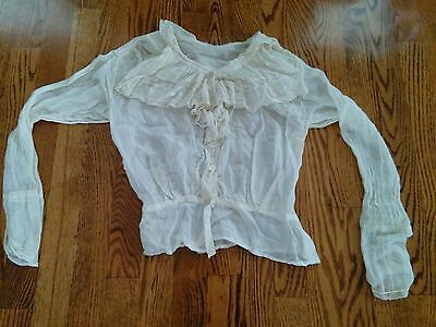 Early Ladies Vintage White Blouse