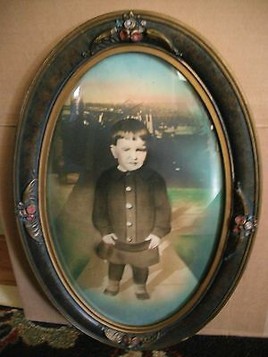 Antique Victorian Oval Wood Picture Frame With Bubble Glass Young Boy