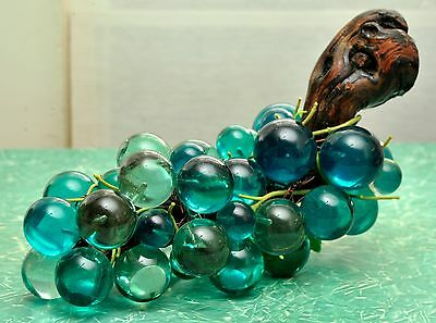 Rare LUCITE Blue Variegated MOONGLOW Large Grape Cluster Table Decor MCM