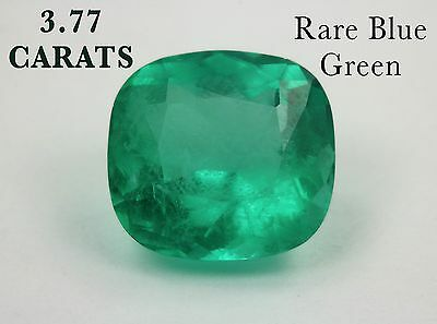 3.77 Carat Cushion Cut Natural Colombian Green Emerald Loose Gemstone VIDEO