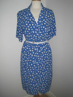 True Vintage ST MICHAEL ( M & S ) Blue White WW2 Landgirl 40s Vibe Tea Dress  14