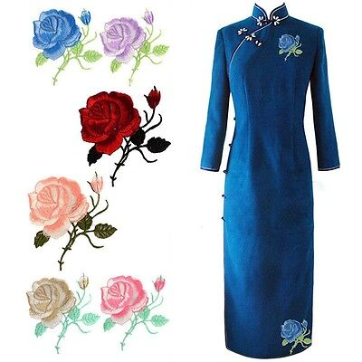 Motif New Embroidered Patch Iron-On Craft Applique Rose Flower Decoration