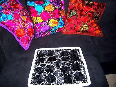 Mexican Satin Embroidered Handmade Cream & Black Floral Pillow Cover - New -