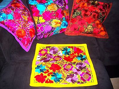 Mexican Satin Embroidered Handmade Yellow Floral Pillow Cover - New - Gorgeous