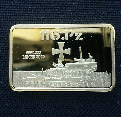 1oz Gold Plated Bar.. German 116.PZ Tank Division. Front side shows. . German