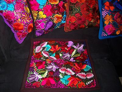 Mexican Satin Embroidered Dark Brown Floral Zipper Pillow Cover- New-Gorgeous