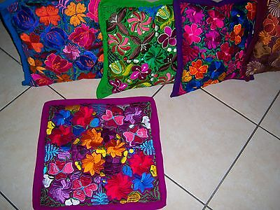Mexican Satin Embroidered Fuschia Floral Zippered Pillow Cover - New-Gorgeous