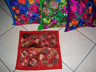 Mexican Satin Embroidered Rust Floral Zippered Pillow Cover - New-Gorgeous
