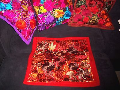Mexican Satin Embroidered Handmade Floral Rust Pillow Cover  - New - Exquisite