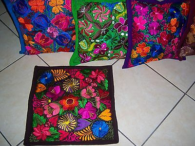 Mexican Satin Embroidered Dark Brown Floral Zipper Pillow Cover - New-Gorgeous