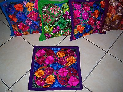 Mexican Satin Embroidered Purple Grape Zipper Pillow Cover- New-Gorgeous