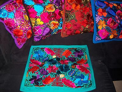 Mexican Satin Embroidered Jade Green Floral Zipper Pillow Cover- New-Gorgeous