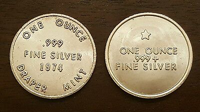 Private Collection Lot of 2 Swiss of America 1oz 999 silver round..Rare Variants